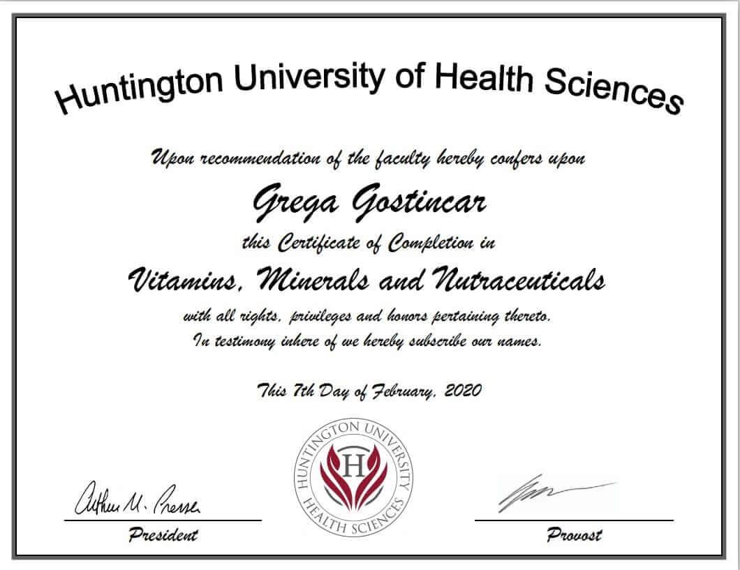 Certificate from HUN University